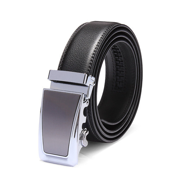 Black Casual Business Automatic Buckle Leather Belt