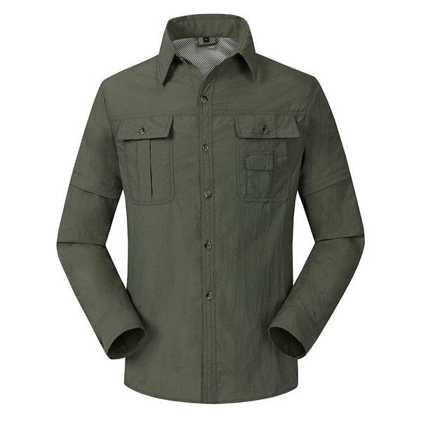 Mens Quick Dry Turndown Collar Detachable Sleeve Breathable Outdoor Sports Casual Shirts