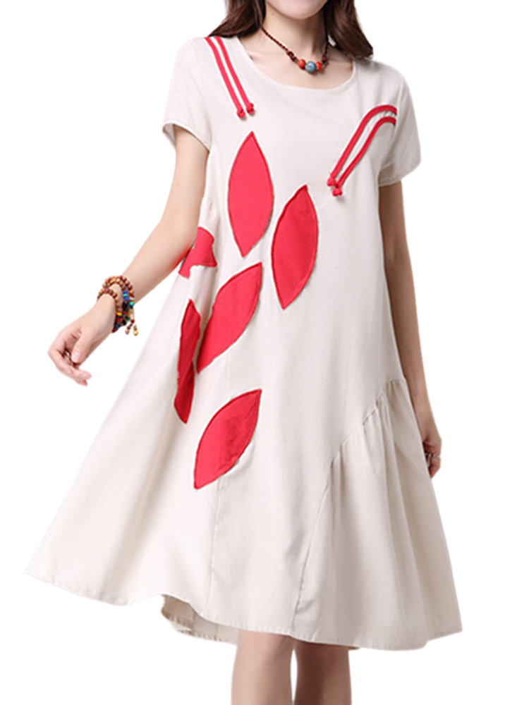 Women Vintage Stitching Applique Short-Sleeve Loose Dress