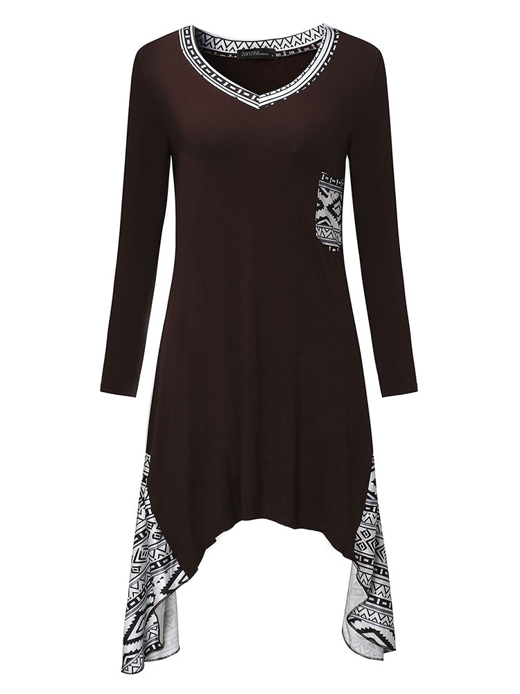 Sexy V-Neck Printed Patchwork Long Sleeve Asymmetric Dress For Women