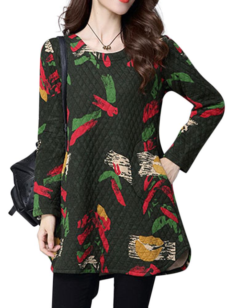 Ethnic Vintage Printing Round Neck Long Sleeve Irregular Mini Dress For Women