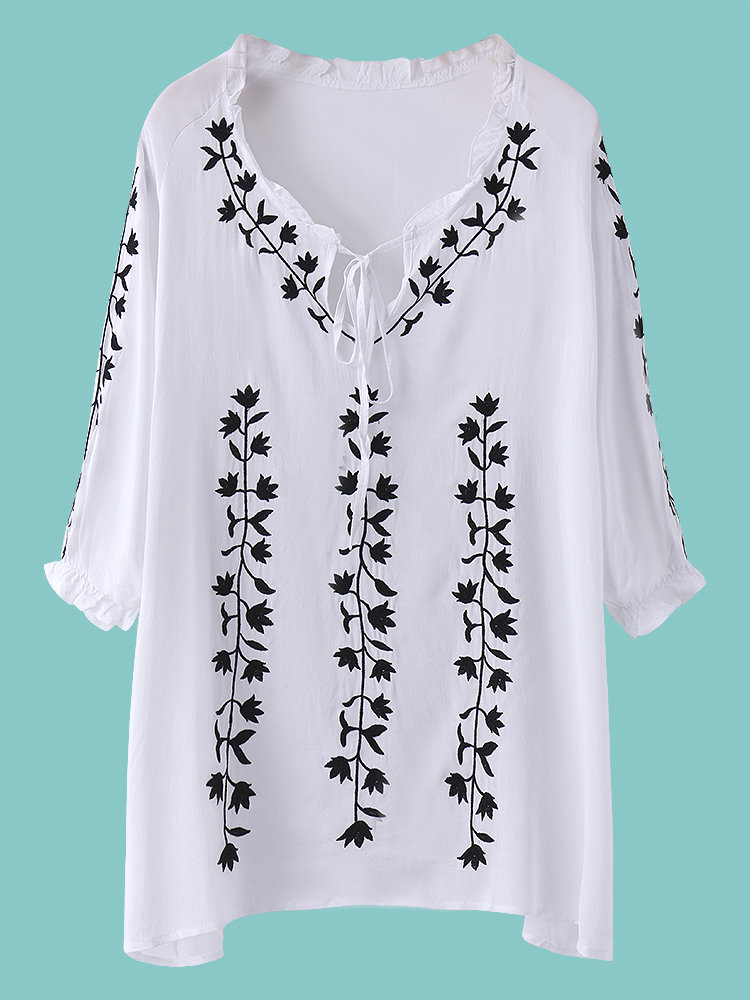 Women Sexy Floral Embroidered Off-Shoulder Three Quarter Sleeve Mini Dress