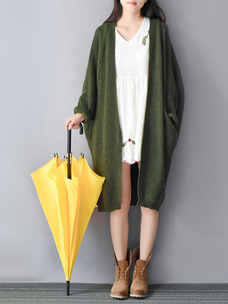 Women Batwing Sleeve Loose Oversized Knitted Sweater Cardigan
