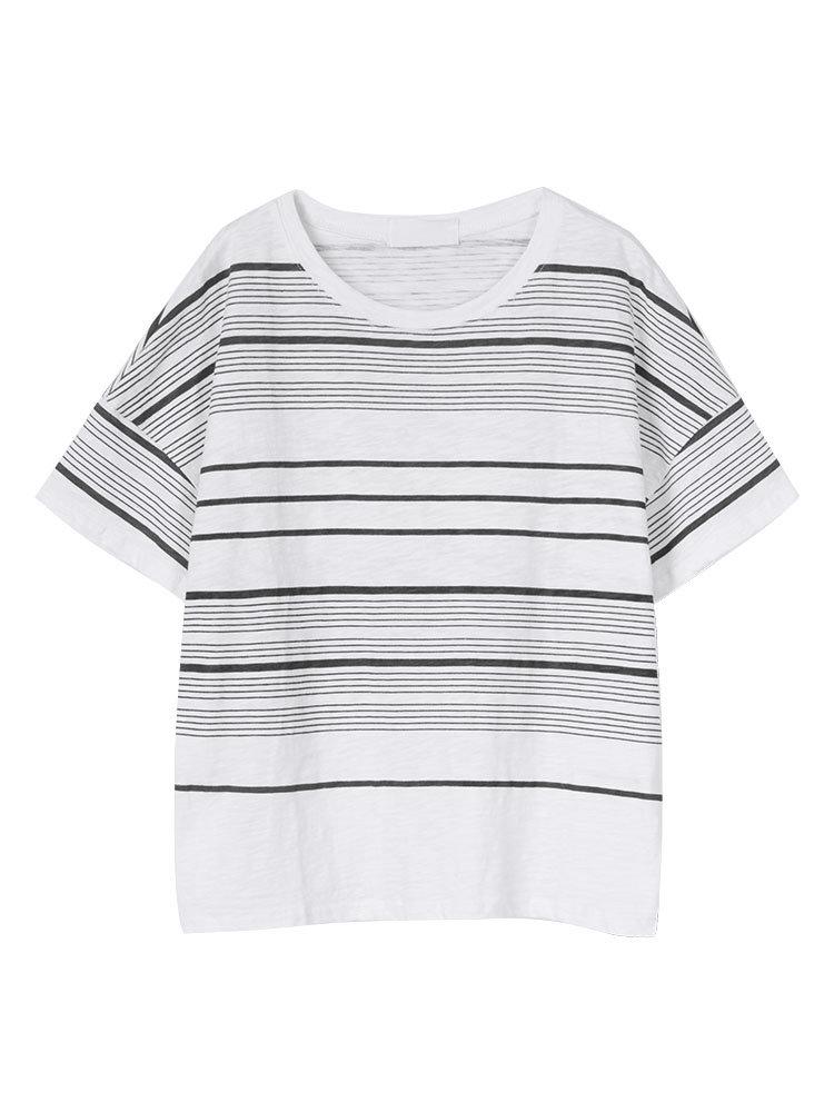 Women Short Sleeve O Neck Stripe Letter Printed Casual T-shirrt