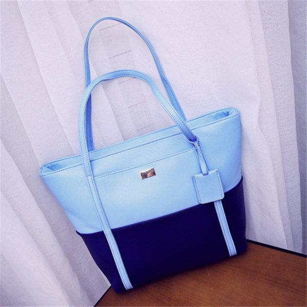 Women PU Leather Stylish Handbag Contrast Color Tote Shoulder Bags