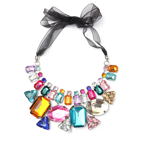 Colorful Big Crystal Ribbon Chain Statement Necklace