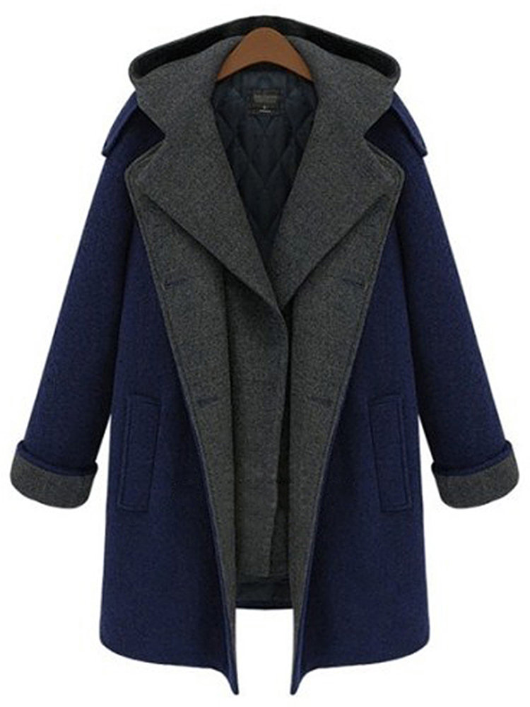 Plus Size Elegant Double Breasted Hood Long Woolen Coat