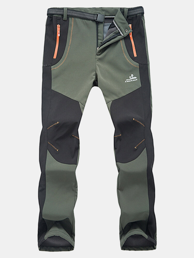 Mens Outdoor Sport Pants Elastic Waist Soft Shell Warm Fleece Lining Waterproof Quick-Dry Trouser