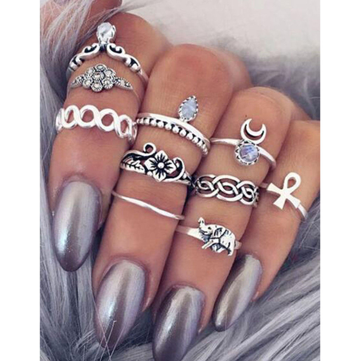 10pcs Vintage Knuckle Tribal Ethnic Stone Joint Unique Ring