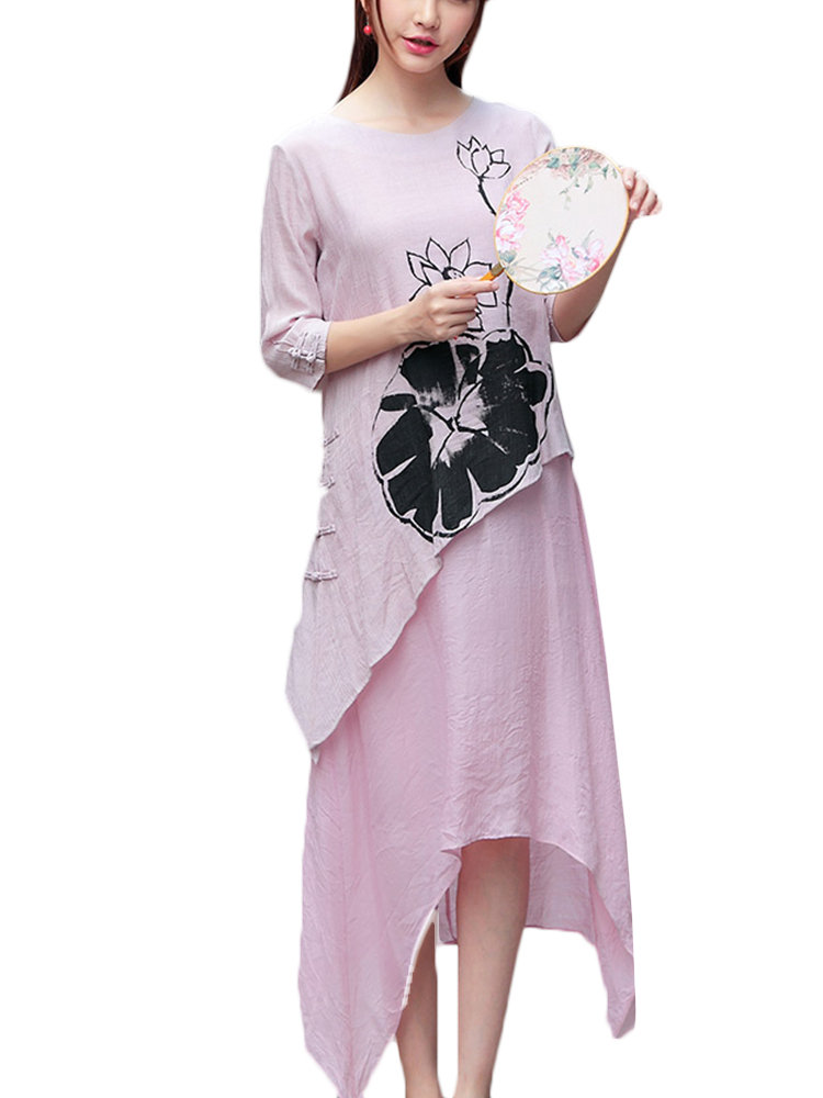 Vintage Ink Printed Plate Buttons Fake-Two Piece Dress For Women