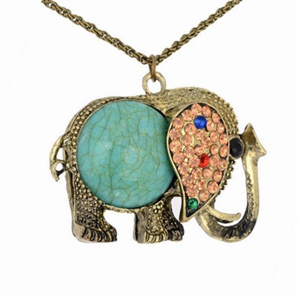 Горный хрусталь Бирюзовый Слон ожерелье