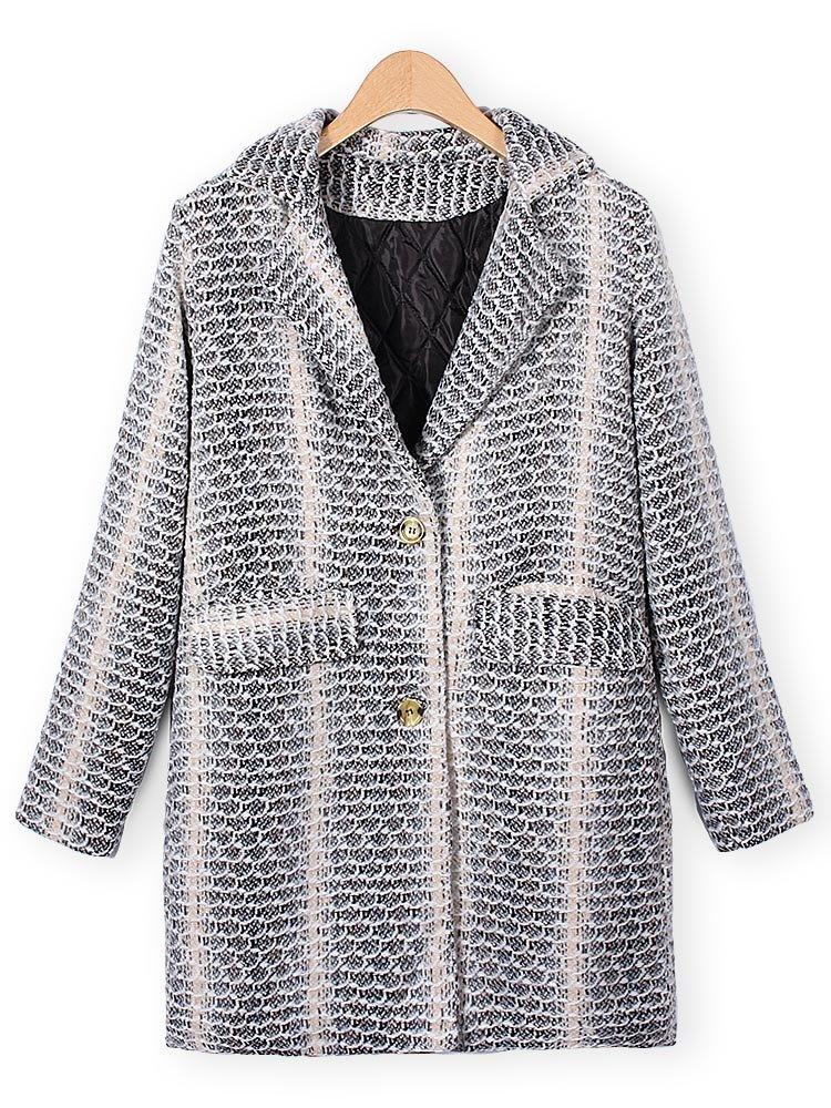 Повседневный Элегантный отворотом печати Карманы пальто шерстяное Outwear