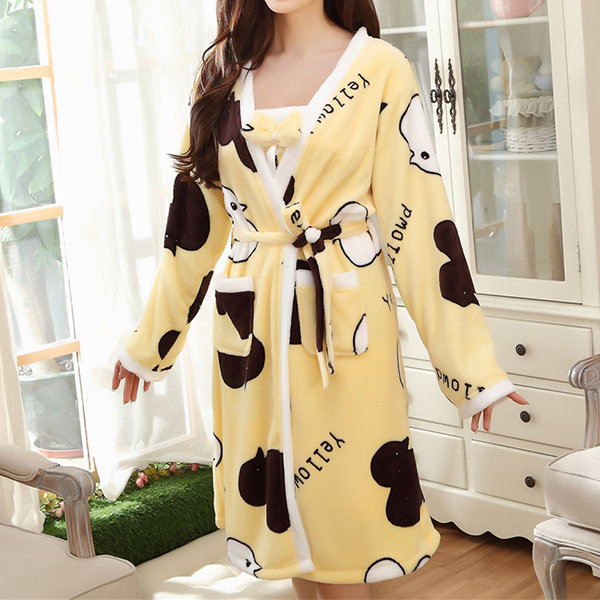 Thicken Comfy Flannel Printing Bathrobe Long Sleeve Two Pieces Nightgown For Women