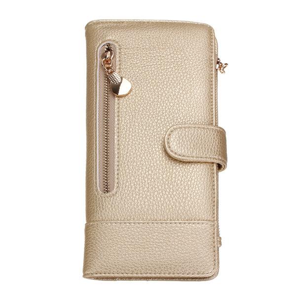 Women Candy Color PU Leather Long Zipper Wallet