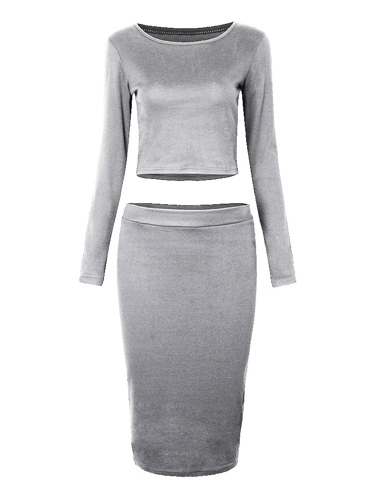 Party Sexy Solid Midriff-baring Long Sleeve Sheath Bodycon Two Pieces Dress