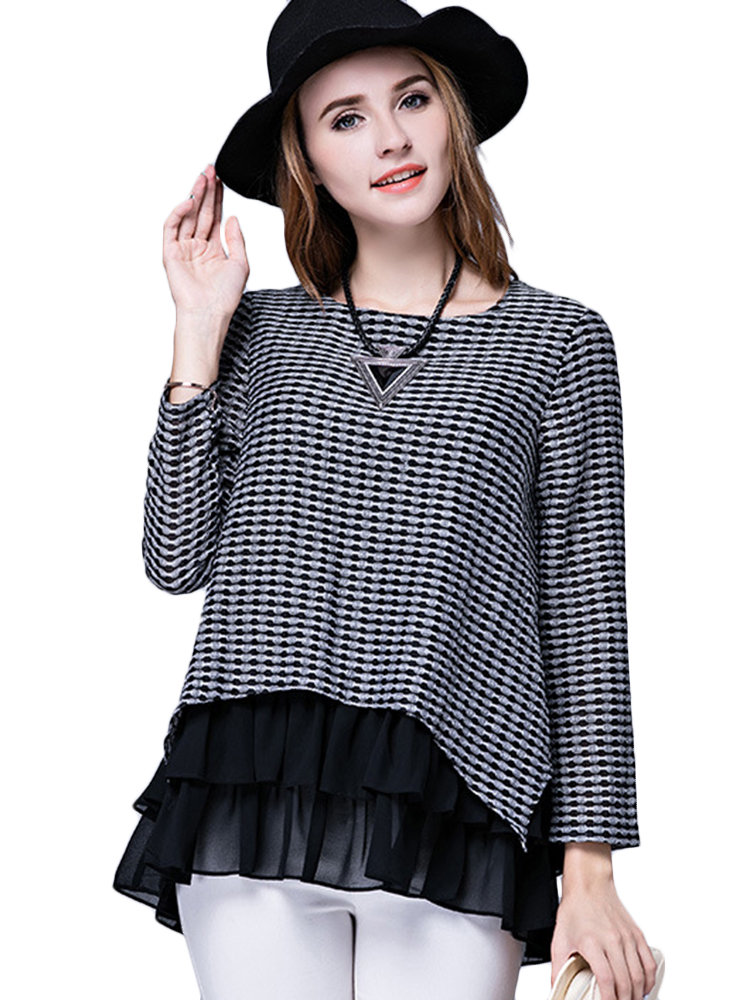 Elegant Women Fake Two-Piece Patchwork Plaid Chiffon Hem Blouse