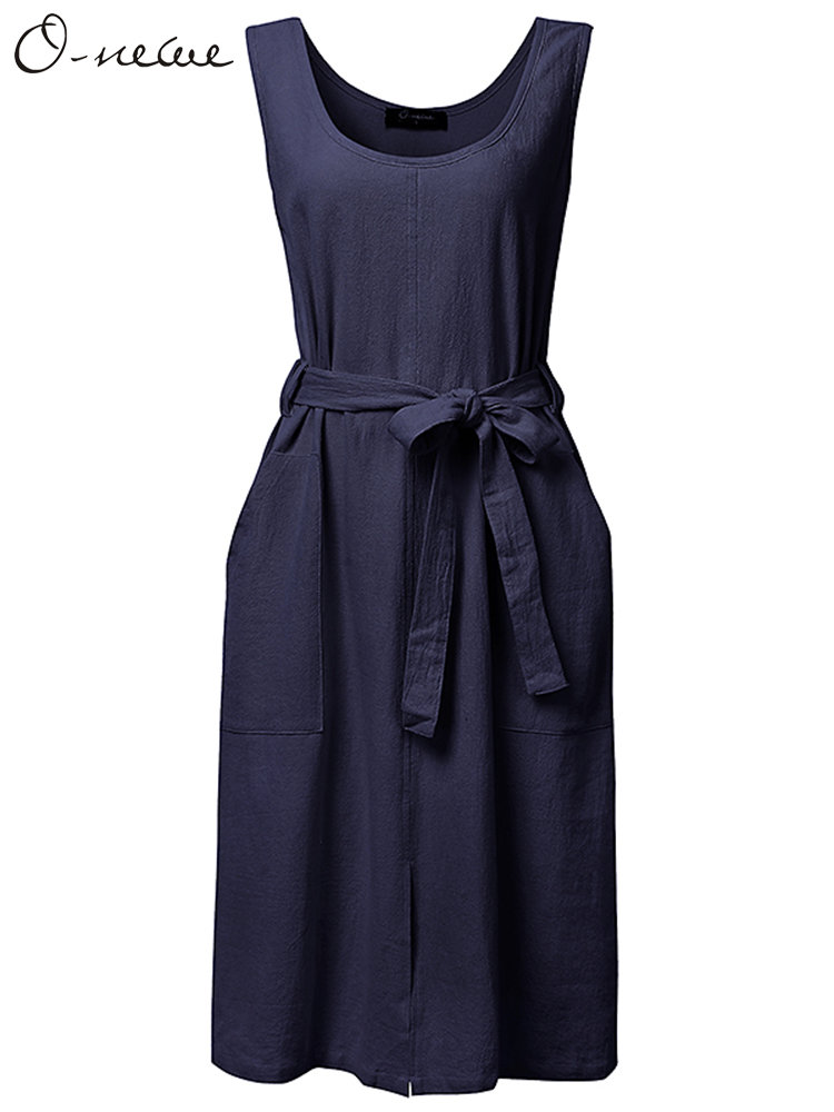 O-Newe Plus Size Solid Sleeveless Pocket Bow-knot Dress For Women