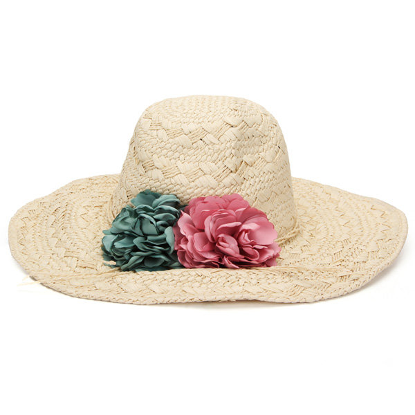 Large Flat Brim Sun Hat Handmade Straw Hat Ribbon Flower  Beach Cap