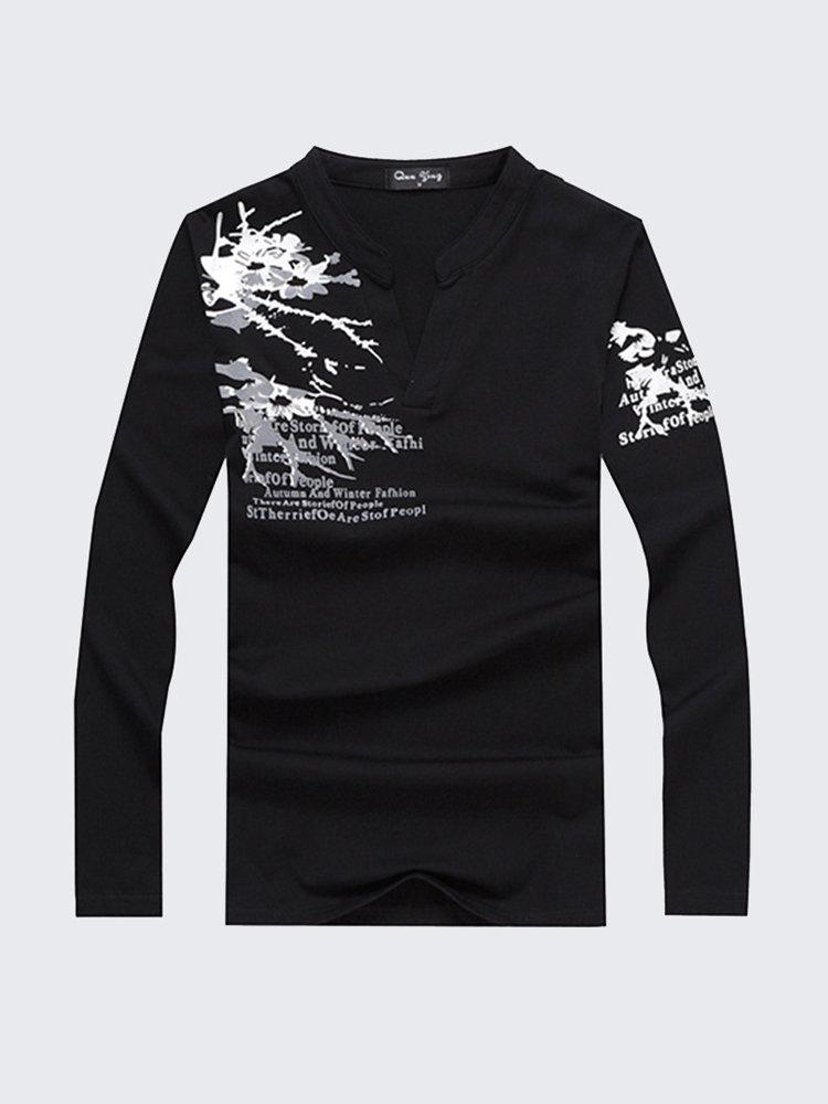 Mens Spring Fall Fashion Printing V-Neck Slim Fit Casual Long Sleeve T-Shirt