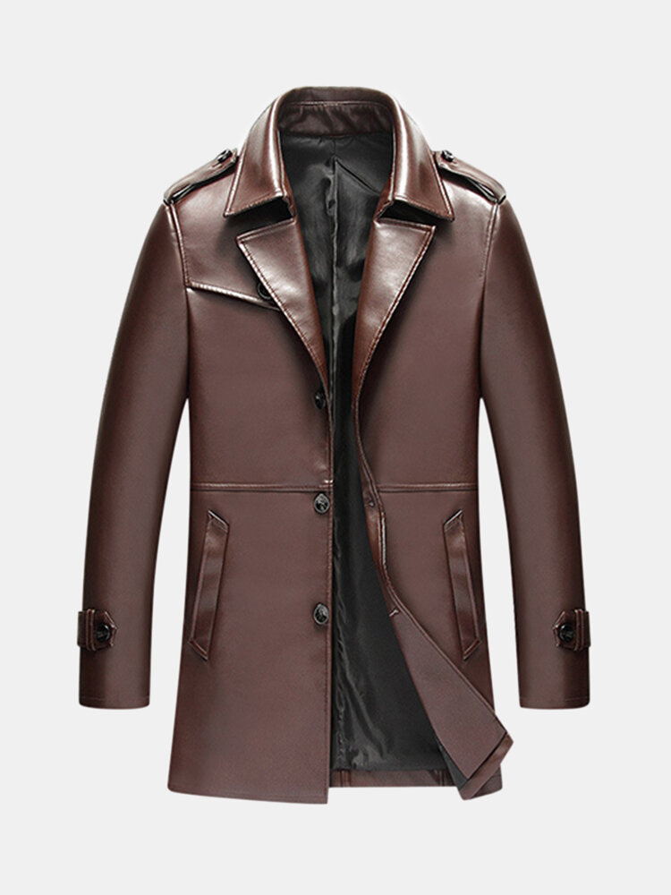 Winter Casual Business Epaulets Decoration Solid Color PU Leather Jacket for Men
