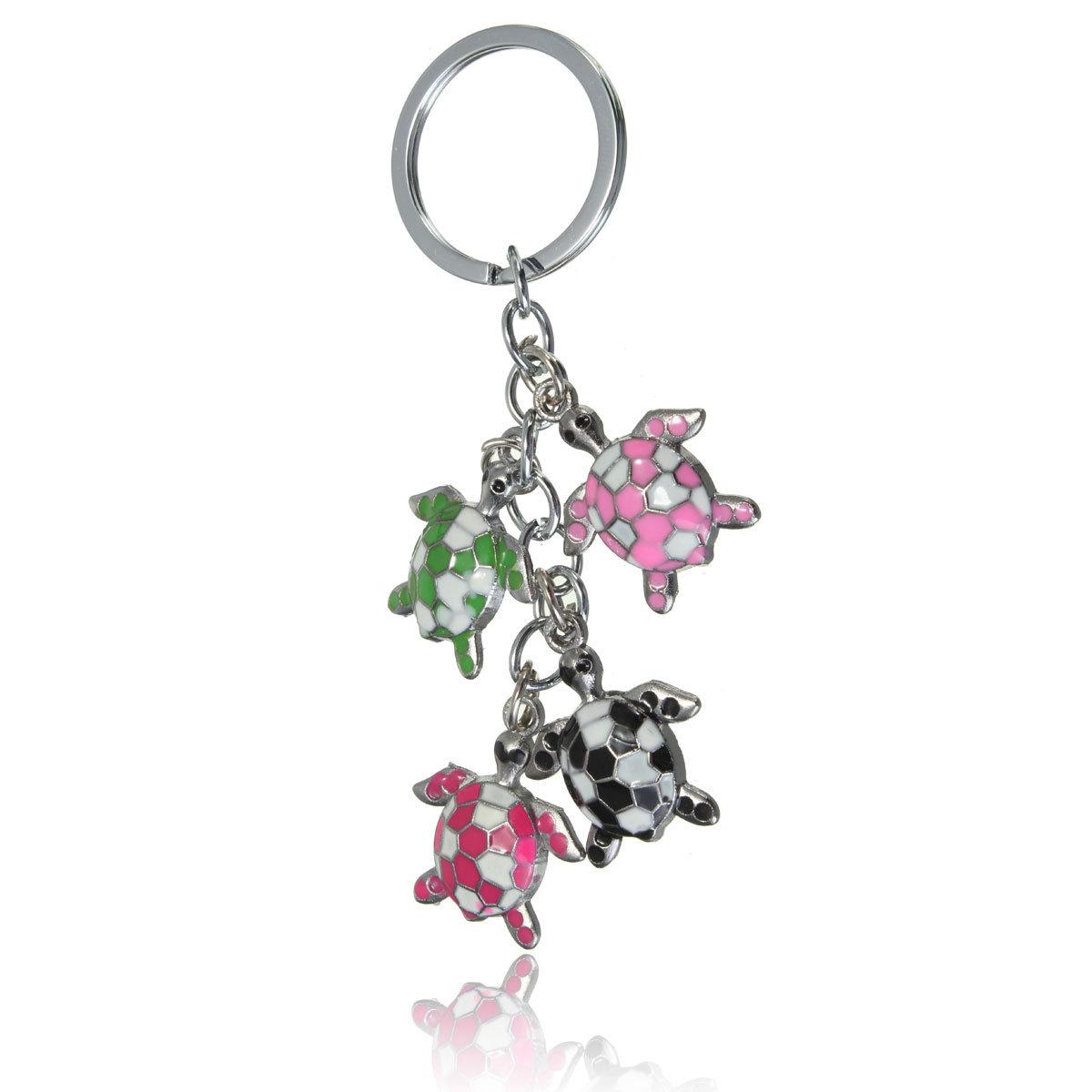 Colorful Sea Turtle Metal Keychain