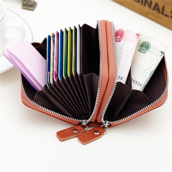 Women Men Geniune Leather 10 Card Holder Portable Coin Bags Short Wallet