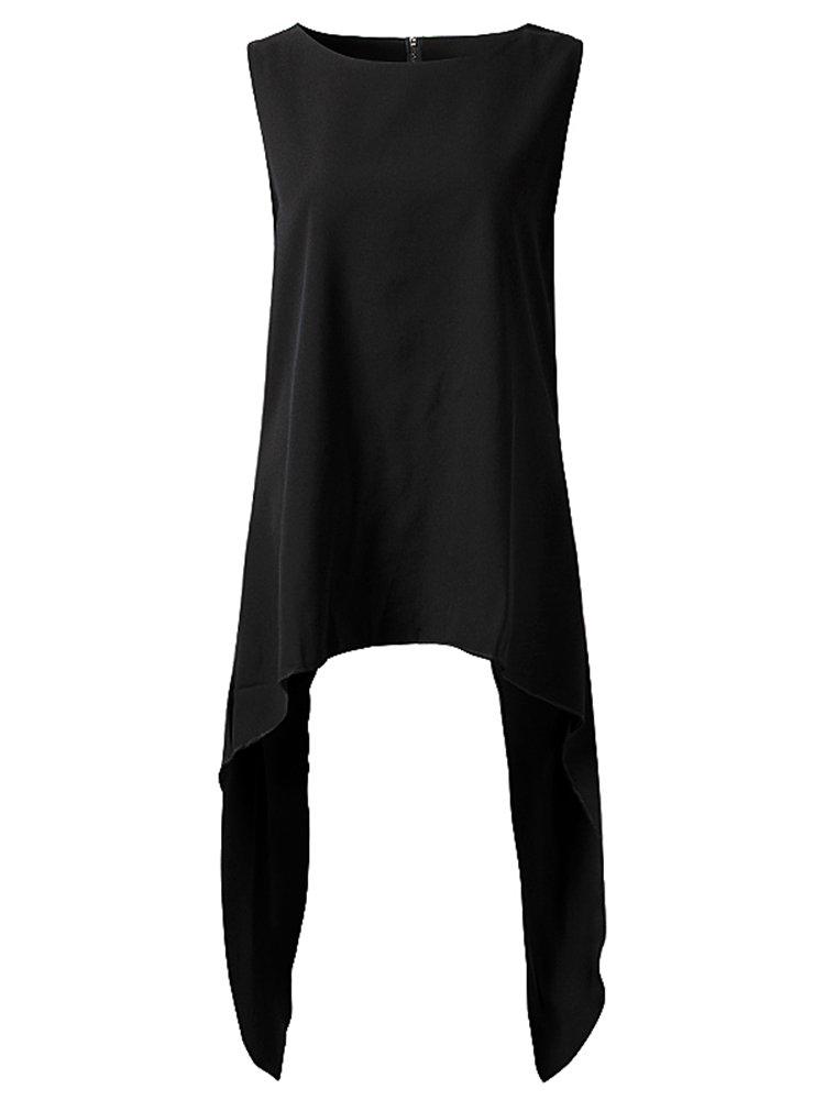 Brief Women Solid Color Asymmetric Hem Round Neck Irregular Vest