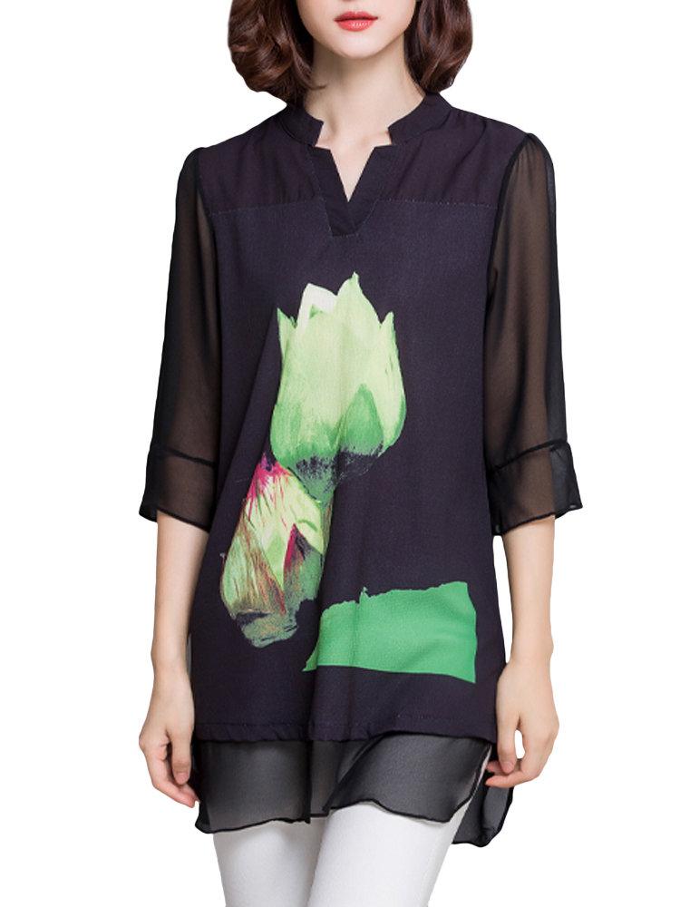 Elegant Women Printed V Neck Split Hem Patchwork Chiffon Blouse