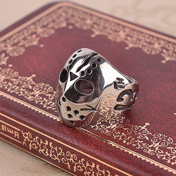 Punk Men Ring Stainless Steel Silver Mask Ring