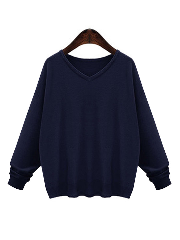 Women Casual Pure Color V-neck Long Sleeve Sweater