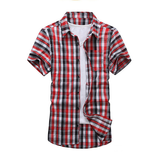 Mens Cotton Turndown Collar Plaid Loose Fit Casual Short sleeved Shirts