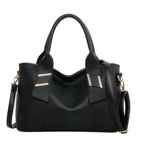 Women Vintage Stylish Pure Color Handbag Shoulder Bag