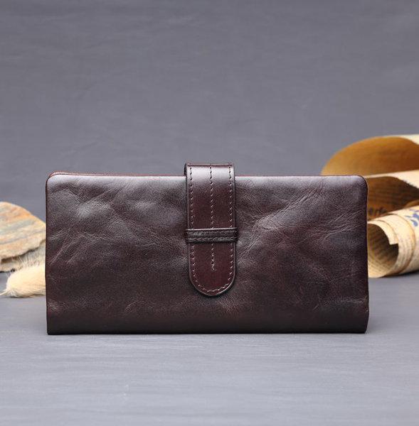Men Oil Wax Paper Cowhide Leather Wallet Purse Business Bag