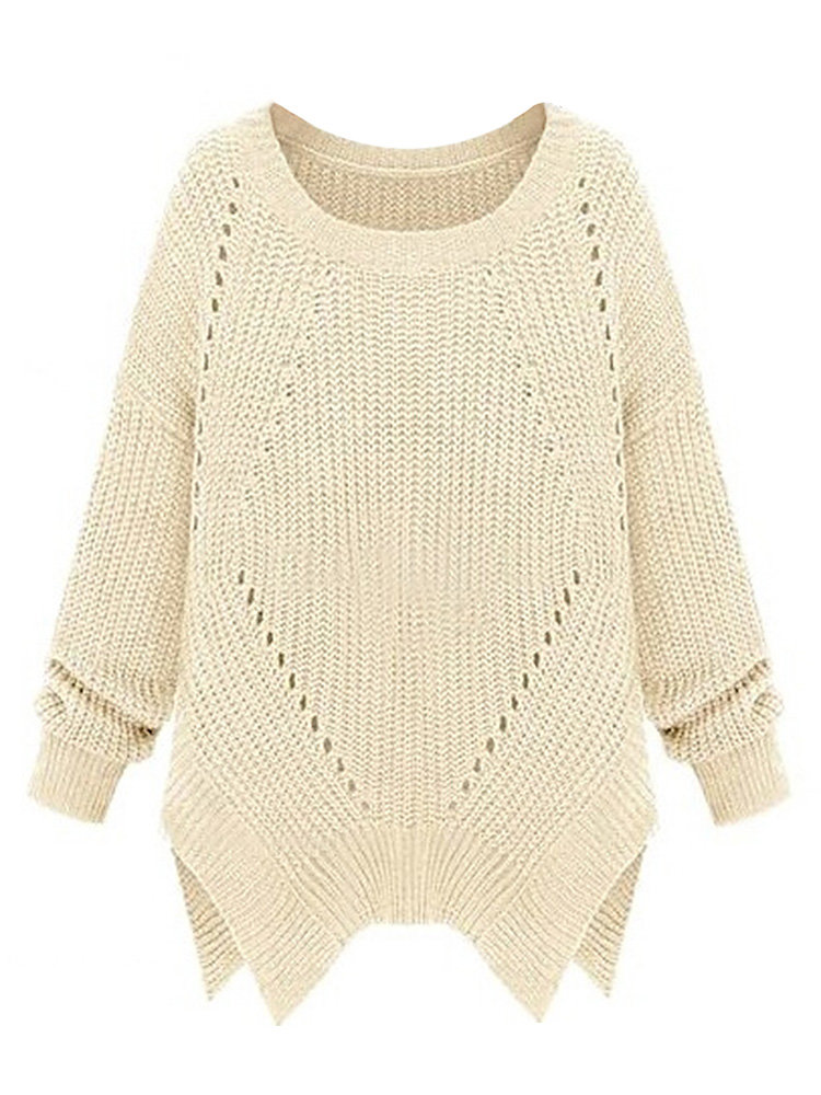 Hollow Out Solid Long Sleeve Split Knit Pullover Loose Sweater