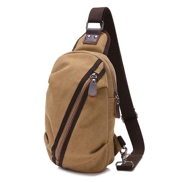 Men Canvas Casual Small Outdoor Zipper Black Coffee Khaki Shoulder Chest Crossbody Bag