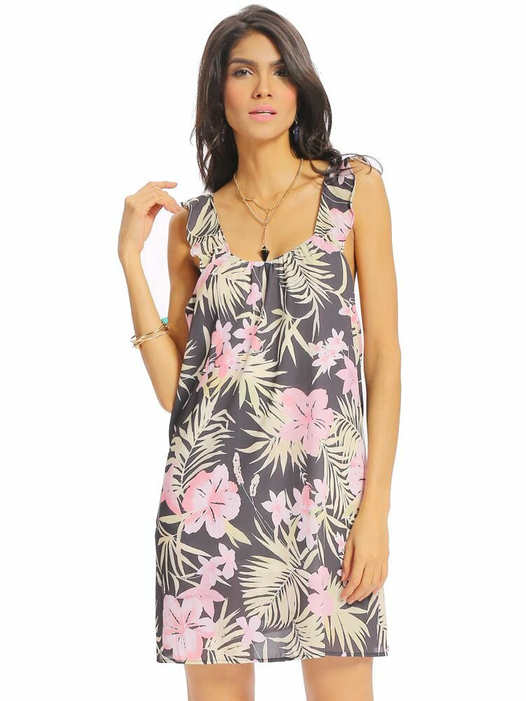 Women Sexy Floral Print Loose Backless Pleat Sleeveless Dress