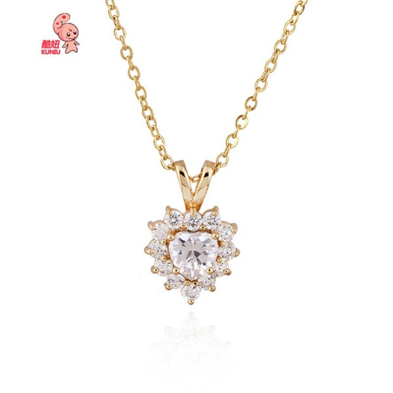 Gold Plated Zircon Heart Pendant Necklace