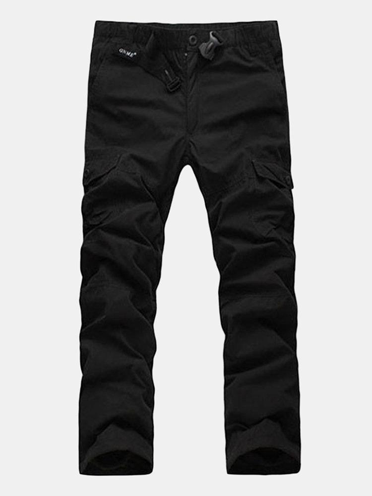 Мужские зимние Multi-карманный Толстый флис подкладка Drawstring брюки-карго
