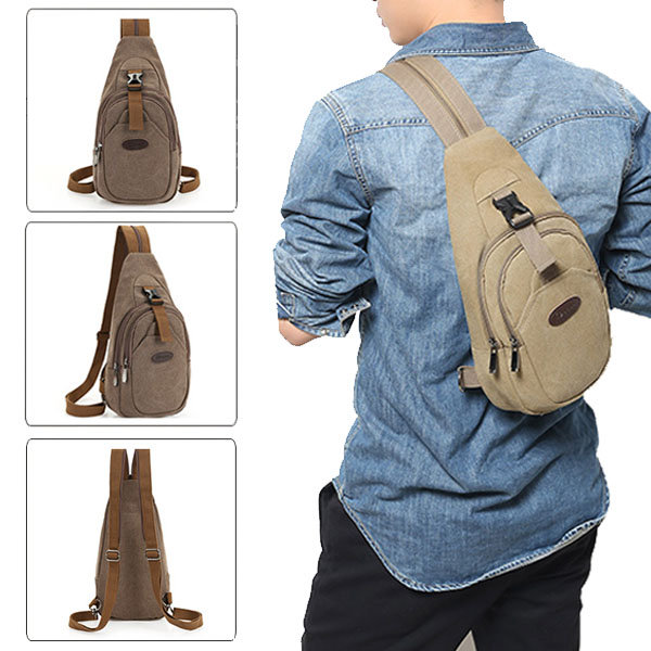 Men's Canvas Leisure Crossbody Bag Outdoor Travel Hiking Multifunction Backpack