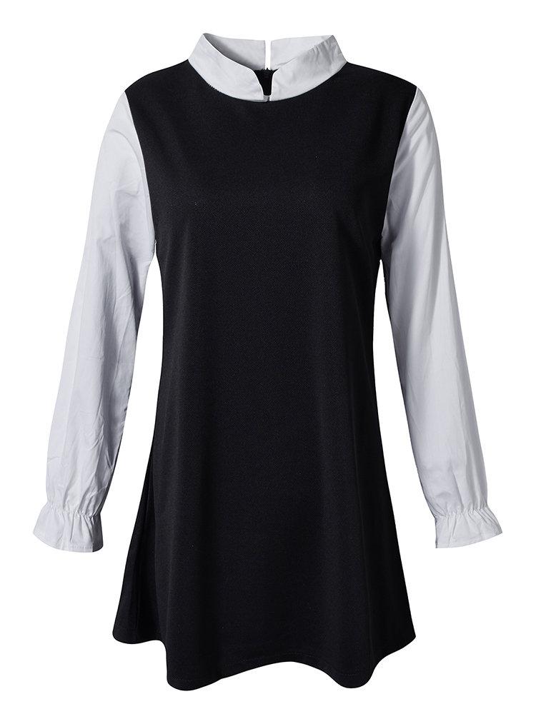 Плюс Размер Повседневная оборками рукава стоять воротник платье для женщин