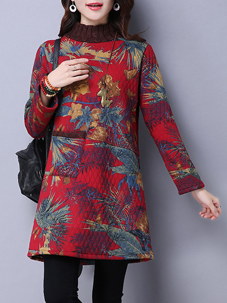 Vintage Printed Stand Collar Long Sleeve Thicken Mini Dress For Women