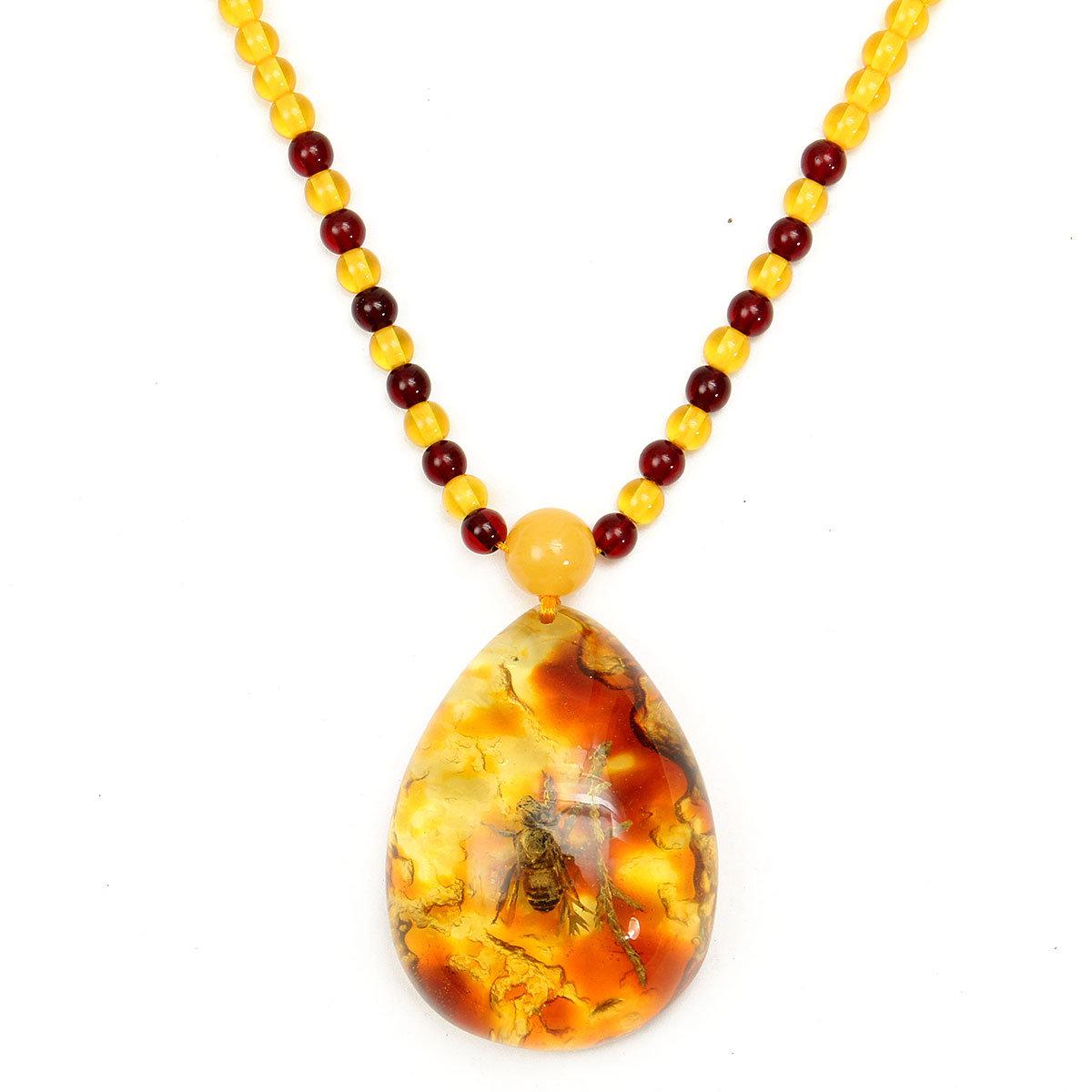 Искусственный Янтарный Насекомые бусы ожерелье