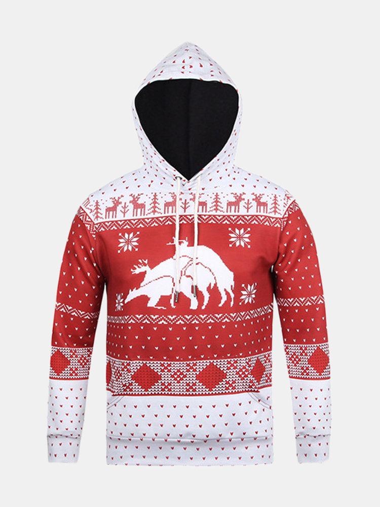 Christmas Theme Deer Snow Flakes Printing Front Pocket Casual Sport Hoodies