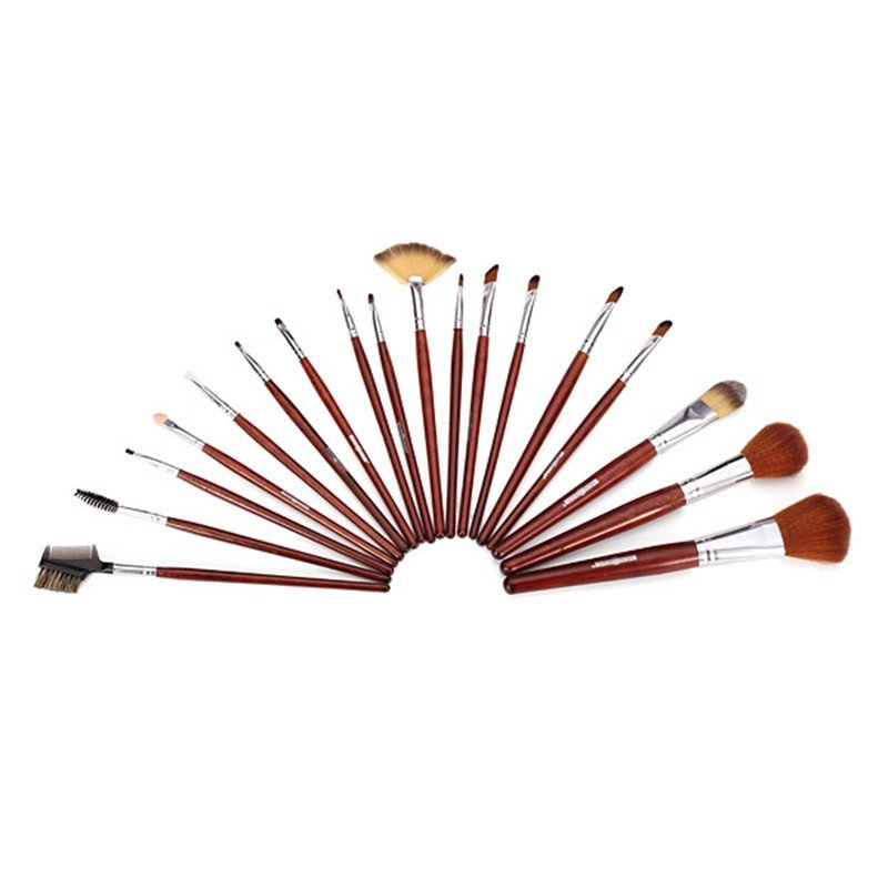 18Pcs Nylon Hair Makeup Brush Set Beauty Facial  Brushes With Coffee Roll Up PU Bag