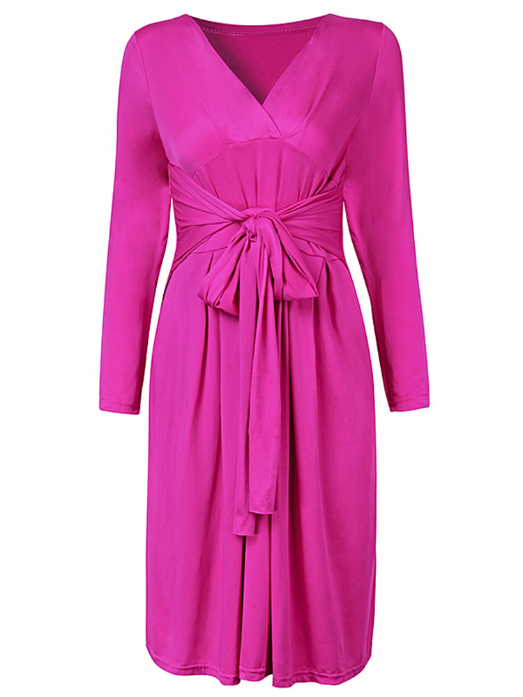 Elegant Women V Neck Long Sleeve Solid Color Slim Dress