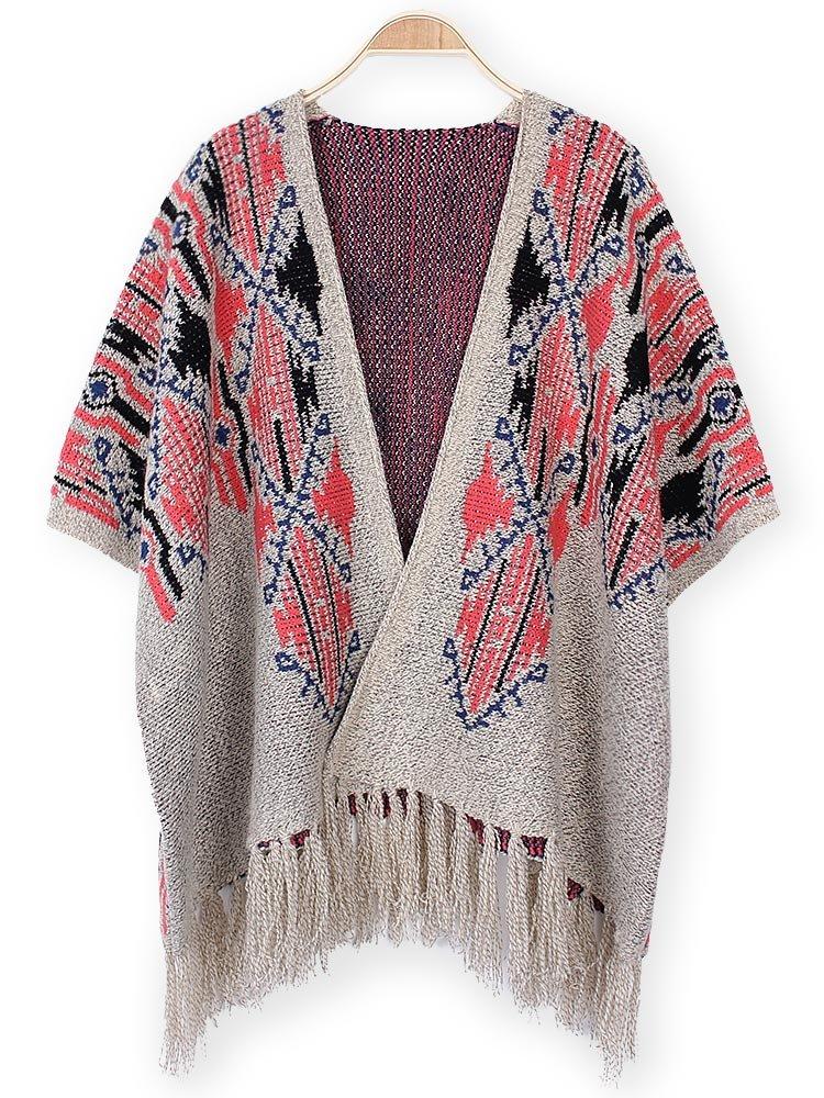 Batwing Sleeve Irregular Tassel Cloak Poncho Cape Knit Sweater