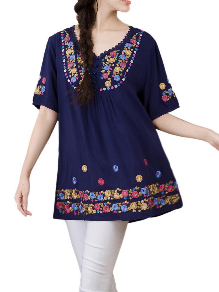 Фольклорный стиль Женщины Вышивка Вязание Пэчворк белье футболка