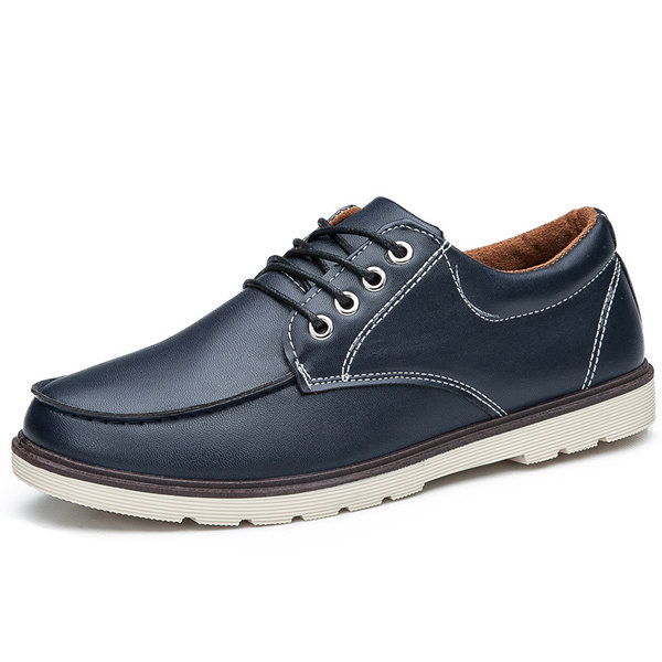 Pu Metal Letter Lace Up Casual Comfortable Sport Shoes For Men