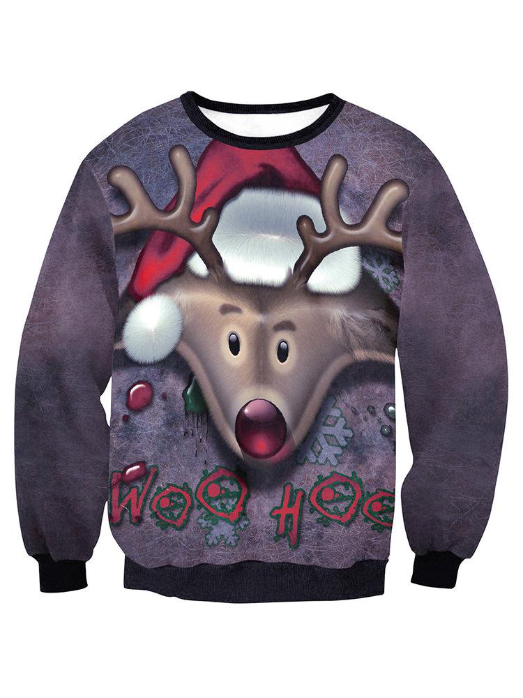 Рождество вскользь Сыпучие Elk шею длинным рукавом Блузка для женщин