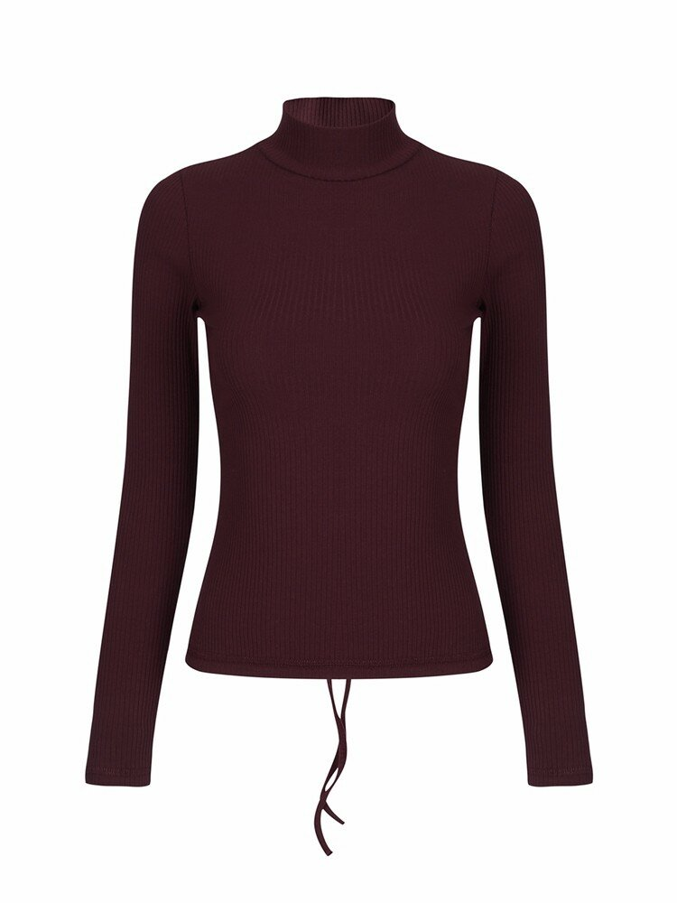 Women Sexy Bandage Turtleneck Long Sleeve T-shirt